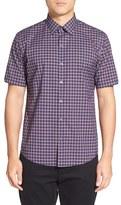 Zachary Prell Men's Plaid Short Sleeve Sport Shirt