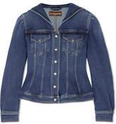 ALEXACHUNG Ric Rac-trimmed Denim Jacket - Blue