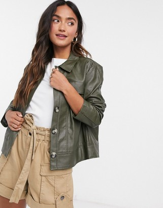 Pieces button up shacket in green