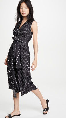 Adam Lippes Sl Asymmetrical Dress In Printed Twill