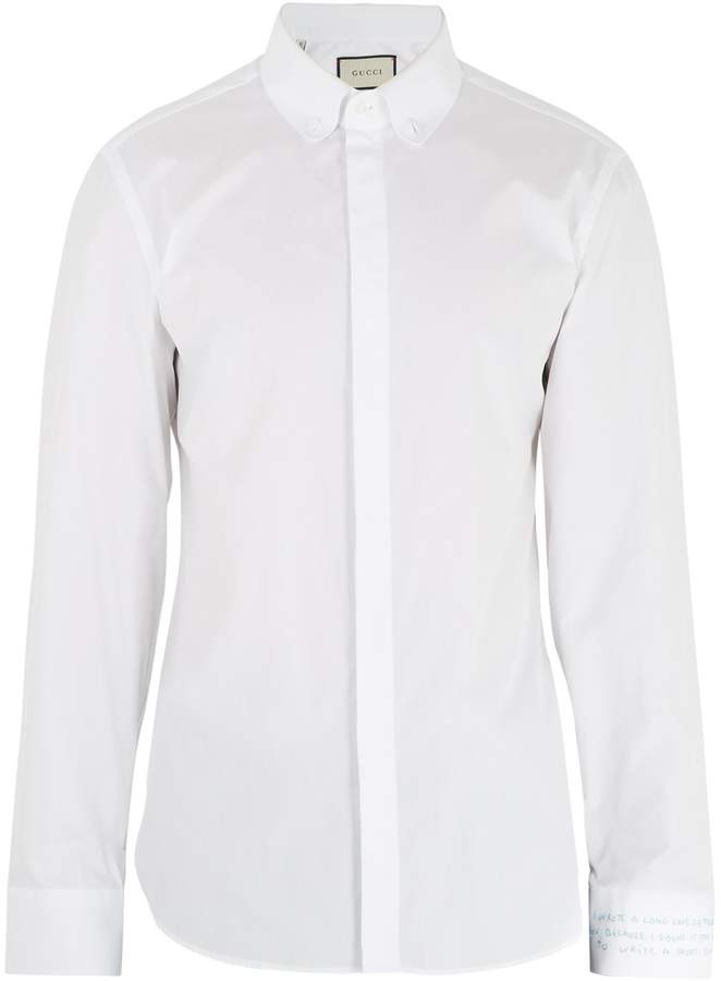 Gucci Text-embroidered single-cuff cotton-poplin shirt