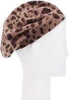 Neiman Marcus Cashmere Leopard-Print Beret, Brown
