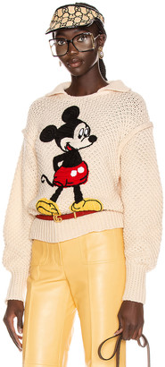 Gucci Mickey Long Sleeve Sweater in Ivory & Multicolor | FWRD