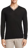 Armani Collezioni Mulberry Silk Tipped V-Neck Sweater
