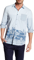 Micros Long Sleeve Patch Pocket Print Woven Shirt