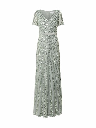 Maya Deluxe Women's Maya Green Lily Short Sleeve Stripe Embellished Maxi Dress Bridesmaid 10