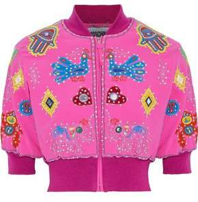Moschino Cropped Appliqued Crepe Bomber Jacket