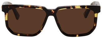 Bottega Veneta Tortoiseshell Rectangular Angular Sunglasses