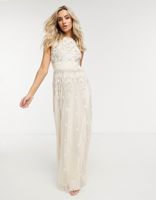 Lace & Beads Bridal embellished maxi dress in cream