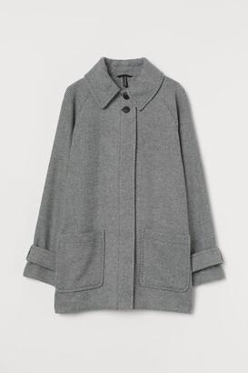 H&M Boxy Twill Coat - Gray