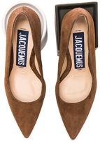 Jacquemus Block Heel Suede Pumps in Brown.