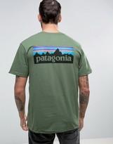 Patagonia P-6 Back Logo T-shirt Regular Fit In Buffalo Green