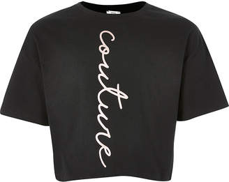 River Island Girls black 'Couture' cropped T-shirt