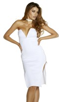 Forplay Women's Double Zip Strapless Midi Dress with Plunging Sweetheart Neckline Zipper Detail
