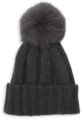 Raffaello Bettini Fox Fur Pom-Pom Cashmere Beanie