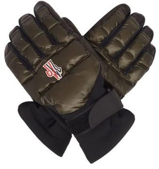 MONCLER GRENOBLE Embroidered-logo Leather-palm Ski Gloves - Dark Olive