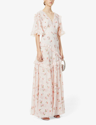 Needle And Thread Desert Rose floral-embroidered cotton maxi dress