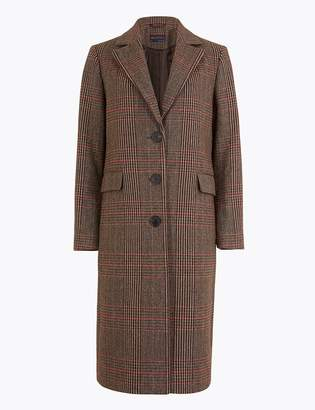Marks and Spencer PETITE Checked Tailored Coat