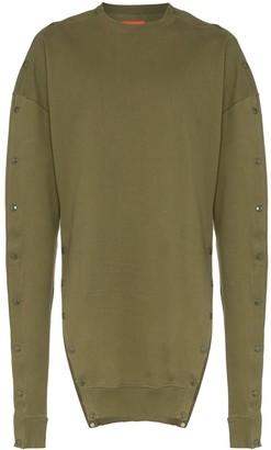 Diesel Red Tag Popper Button Cotton Sweatshirt