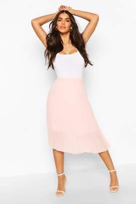 boohoo Pleated Chiffon Midi Skirt