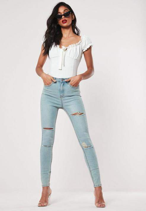 Missguided Petite Blue Authentic Ripped Denim Skinny Jeans