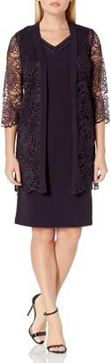 Maya Brooke Women's Petite LACE Duster Embellished V Neck Jacket Dress