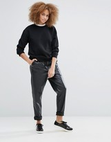 Monki Leather Look Relaxed Pant