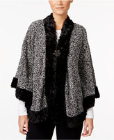 JM Collection Fake-Fur-Trim Marled Poncho, Only at Macy's