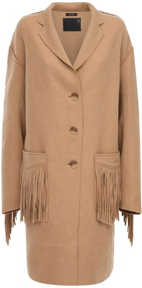 R 13 Over Fringed Wool Coat
