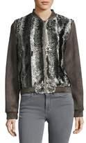 T Tahari Faux-Suede Sleeve Metallic Jacket