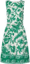 Oscar de la Renta Bedrucktes Kleid Aus Canvas Aus Stretch-baumwolle Mit Gürtel