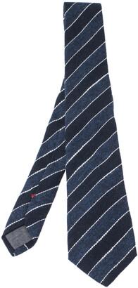 Brunello Cucinelli Blue Cotton Linen Striped Narrow Tie