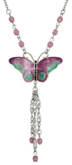 2028 Women's Silver Tone Purple Green Enamel Butterfly with Purple Beads