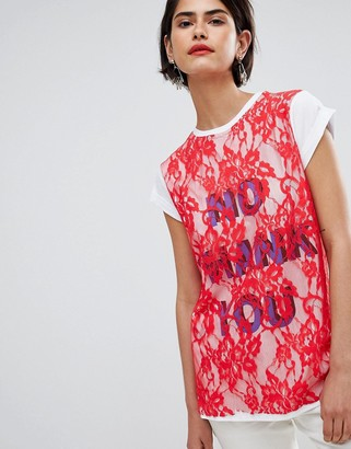 Asos Design ASOS T-Shirt with Print and Lace Overlayer