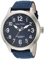 Nautica Men's 'NCC 01 DATE' Quartz Stainless Steel and Nylon Casual Watch, Color:Blue (Model: NAD10501G)