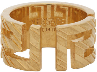 Versace Gold Address Plate Ring