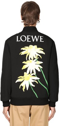 Loewe FLOWER & LOGO PRINT TECHNO BOMBER JACKET