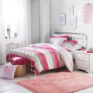 Better Homes & Gardens Better Homes and Gardens Kids Pink Dotted Stripes Comforter & Sham Set with Decorative Pillow