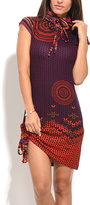 Red & Orange Abstract Cowl Neck Dress