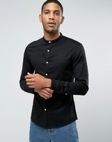 Asos Skinny Denim Shirt With Grandad Collar In Black