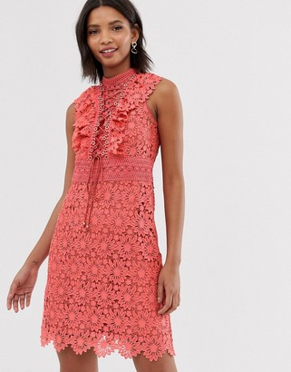 Forever New lace a line mini dress with lace up front in coral-Orange