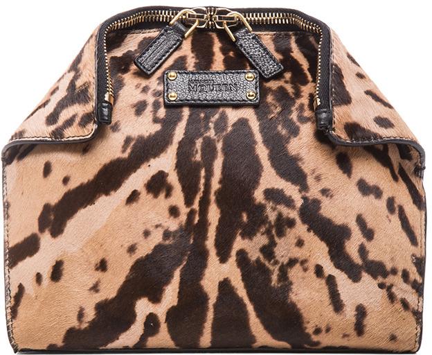Alexander McQueen De Manta Leopard Print Cosmetic Case in Black & Tan