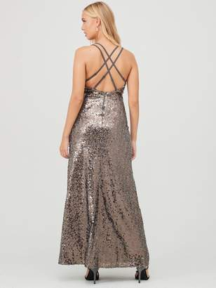 Little Mistress Maxi Sequin Dress - Copper