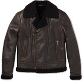Brioni - Shearling-lined Leather Biker Jacket