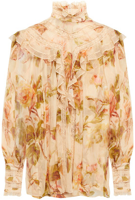 Zimmermann Resistance Lace-trimmed Ruffled Floral-print Silk-crepon Blouse