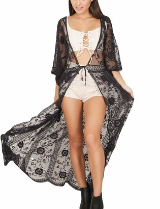 Bsubseach Women Lace See Through Beach Long Kimono Cardigan Bikini Swimwear Cover Up Black