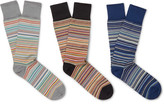Paul Smith Three-pack Striped Stretch Cotton-blend Socks - Blue