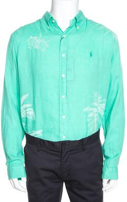 Ralph Lauren Green Tropical Printed Linen Button Down Shirt XL