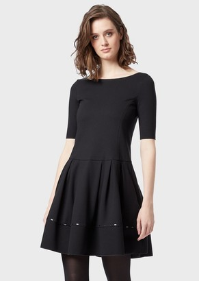 Emporio Armani Milano Stitch Dress With A Flared Skirt