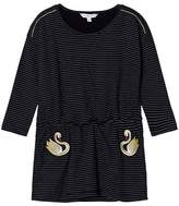Little Marc Jacobs Black and White Stripe Swan Embroidered Jersey Dress